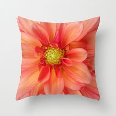 Orange and Pink Dahlia Pillow Summer Pillow by AFlashOfNature