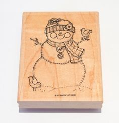 """Stitched Snowman Rubber Stamp 3"""" x 3.75"""" Stampin Up 1995 Christmas #StampinUp #Background"""