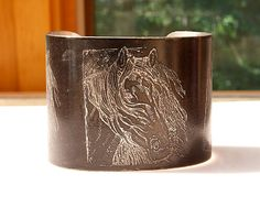"""Gorgeous Mustangs Horse Bracelet Etched Pewter Cuff  2"""" wide, handmade, black. From Joann Hayssen SRA  $40.00  -  20% of the purchase price will be donated to Rosemary Farm horse rescue and sanctuary! https://www.etsy.com/listing/196404575/horse-bracelet-etched-pewter-cuff-2-wide?ref=shop_home_active_1"""