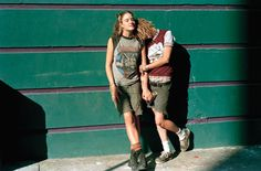 Meggin and Jill Leaning on the Front of Fifth Street Squat, 1996