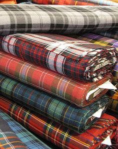 Beautiful bolts of Tartan ~ Britex Fabrics, San Francisco.