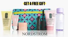The Nordstrom Anniversary Sale is here. Receive a free 7-pc Clinique gift with any $35 Clinique purchase. Add more when you spend $85. There are also Lancome and Estee Lauder GWP offers. Clinique Gift, Nordstrom Anniversary Sale, Debenhams, Estee Lauder, Lancome, Dillards, Cosmetic Bag, Free Gifts, Diaper Bag