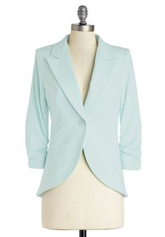 Fine and Sandy Blazer in Mint - Green, Cotton, Mid-length, Mint, Solid, Buttons, Pockets, Work, Daytime Party, Pastel, 3/4 Sleeve, Spring, V...