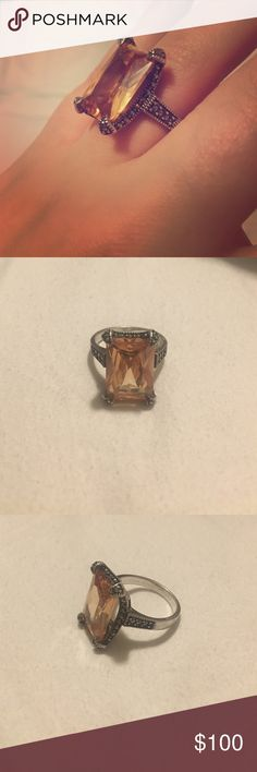 Stealing silver citrine topaz ring 925 sterling silver with citrine November birthstone ring Jewelry Rings