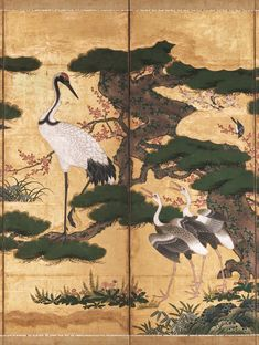 Detail. Birds and Flowers of the Four Seasons.  Momoyama period (1573–1615). second half of the 16th century. Pair of six-panel Japanese folding screens; ink, color, gold, and gold leaf on paper. Met Museum.