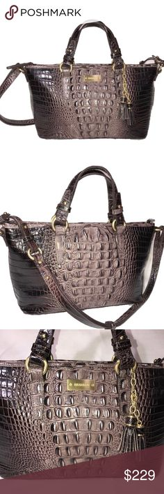 Brahmin Anthracite Brown Croc Asher Tote Hard to find color! Brahmin sea glass Anthracite brown mini asher tote (medium size-see photos). Dark and light chocolate brown with a slight purple hue. Crocodile embossed print on genuine leather. Interior is lined with soft suede like fabric with interior zip pocket 2 slip pockets, 2 pen pockets and key clip. Gold hardware with tassel and slip pocket on back outside. Zip top closure, removable adjustable long strap. Great condition, only carried a…