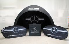 Outdoor Messestand, Display-Kombination, Produkt-Kombi - Pneumatisches Eventzelt, Promotiontheke, Pop-up Displays