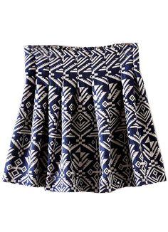 Falda plisado geométrico-Azul EUR€16.78