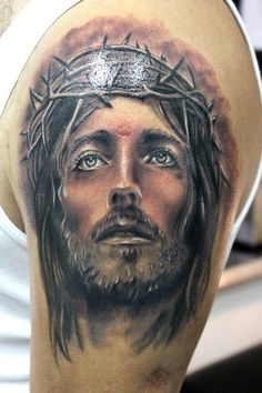 Jesus Portrait With Crown Of Thorns Tattoo