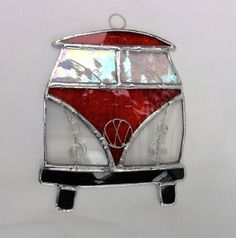 Stained Glass Camper Van Suncatcher - Orangey Red and White £14.00