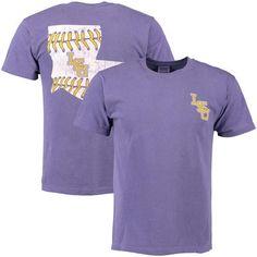 Men's Purple LSU Tigers Baseball Laces State Comfort Colors T-Shirt