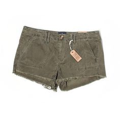 American Eagle Outfitters  Khaki Shorts ($13) ❤ liked on Polyvore featuring shorts, dark green, american eagle outfitters, dark green shorts, american eagle outfitters shorts and khaki shorts