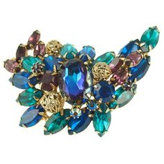 Vintage DeLizza & Elster Juliana Pin in Blues and Purple