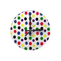 Colorful Polka Dot Wall #Clock #polkadot #walldecor #gifts  $21.95