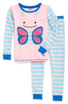 Skip Hop 'Zoojamas - Butterfly' Two-Piece Pajamas (Toddler Girls & Little Girls)