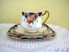 RESERVED FOR ZOE Vintage English Heathcote Bone China Trio Imari Palette Hand Painted Tea Cup Saucer & Plate  England