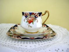 RESERVED FOR ZOE Vintage English Heathcote Bone China Trio Imari Palette Hand Painted Tea Cup Saucer & Plate  England