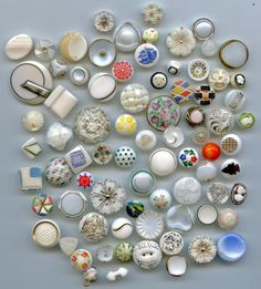 79 white glass buttons