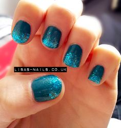 Blue glitter gradient by Lisa's Nails