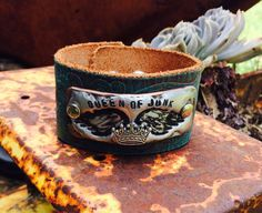 Queen of JUNK cuff on distressed turquoise leather   on Etsy, $45.00