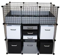 Mini Cubbies in a Small Cage with Double Stand (Small Rabbit Houses) Diy Guinea Pig Cage, Pet Guinea Pigs, Guinea Pig Care, Hedgehog Care, Hedgehog House, Bunny Cages, Rabbit Cages, Guinie Pig, C&c Cage