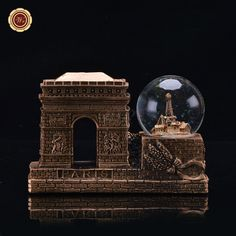 WR Copper Metal Collectible Souvenir World Famous Building & Snow Globe Dome Resin Business Gifts Home Office Desk Ornament