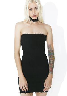 Dark Slayer Bodycon Dress cuz yer beauty and power is a lethal combination, bb...Patrol the night streets in this fierce tube dress featuring an xxtra stretchy ribbed construction, raw edges, and matching choker.