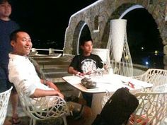 Ah Xiang and Hao Zi, filming a Mykonos documentary at Kouros Hotel & Suites