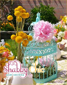 shabby chic baby shower | birdcage and peonies