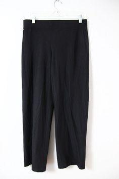 Eileen Fisher Black Ponte Pants Sz S Wide Leg Dressy Womens Read Inseam 30  #EileenFisher #DressPants