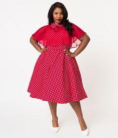 cc9d0f1045 Unique Vintage Plus Size 1940s Style Red   White Polka Dot Cotton Luna 1940s  Style