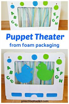 Puppet theatre easy DIY from recyclables for kids pretend play Craft Stick Crafts, Easy Crafts, Easy Diy, Craft Ideas, Diy Projects For Kids, Diy For Kids, Crafts For Kids, Teaching Supplies, Craft Supplies