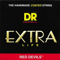 """DR Strings Red Devils - Extra-Life Red Coated Electric 11-50 by DR Strings. $8.99. DRs EXTRA-Life Red Devils offer guitar players a superior red coated string without sacrificing the crisp tone, clarity, and volume of traditional DR HandMade Strings. EXTRA-Life is a super thin advanced .0003"""" coating on the plain guitar strings and on the wrap wire for added protection."""