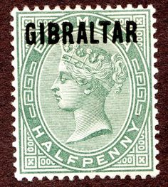 Gibraltar Sc #1 (SG#1)  QV 1/2d Green MH OG Overprint Wtrmk 2 Crown and CA 1886