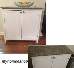 Kitchen White Storage Cabinet Buffet Island Faux Marble Top 2 Doors Shelf Wood #IDSFurniture