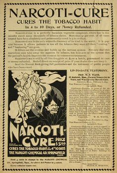 1895 Narcoti-Cure Ad ~ Cures the Tobacco Habit ~ Will Bradley Art