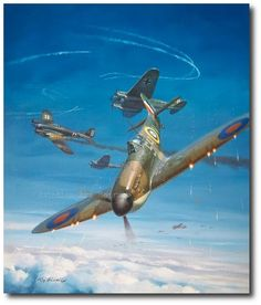 Spitfire by Roy Grinnell The Legendary Supermarine Spitfire in combat during the Battle of Britain. Ww2 Aircraft, Fighter Aircraft, Military Aircraft, Fighter Jets, Mustang, Military Drawings, Aircraft Painting, Airplane Art, Supermarine Spitfire