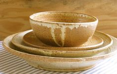 Yellow Rustic Stoneware Place Setting by NewProspectPottery, $100.00