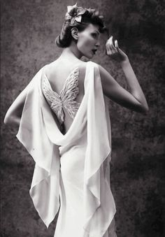 Nadja Auermann In Ad Campaign Wearing Gown With A Boldini-Style Line Consisting Of Two Chiffon Dresses Whose Lightness Is Created By Play With Bias-Cuts- Valentino Haute Couture Spring-Summer 2005