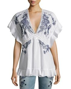 ROBERTO CAVALLI Embroidered V-Neck Cotton Blouse, White. #robertocavalli #cloth #