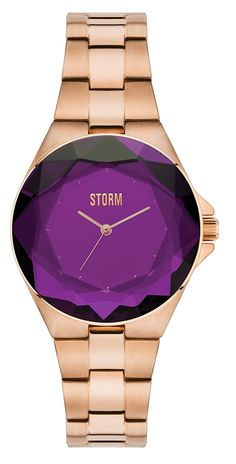 The glamorous STORM Crystana rose gold/purple features a unique diamond cut glass dial and a highly polished stainless steel strap and case. Storm London, London Watch, Watch Sale, Purple Gold, Rose Gold Plates, Gold Watch, Bracelets, Diamond Cuts, Jewels