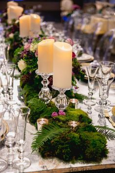 deco ideas spring table decoration with big candles for wedding moss decoration – Wedding Flowers Moss Centerpieces, Romantic Wedding Centerpieces, Wedding Table Centerpieces, Wedding Flowers, Wedding Decorations, Moss Wedding Decor, Centerpiece Ideas, Romantic Weddings, Eucalyptus Centerpiece