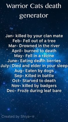 What's your Warrior cat death? I was killed in battle #warriorcats