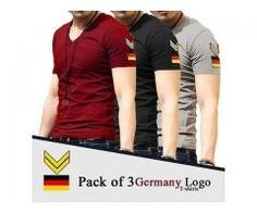 Pack Of Three Germany Logo T-shirts colors Available Cash On Delivery