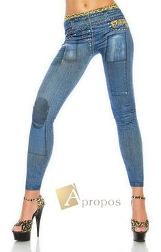Leggings Jeggings Treggins Stretch Strumpfhose Blau Leo OS 34- 38
