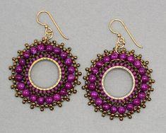 Big Purple Earrings, Handmade Large Circle Earrings, Seed Bead Jewelry, Beaded B… – Earrings 2020 Seed Bead Jewelry, Bead Jewellery, Seed Bead Earrings, Round Earrings, Boho Jewelry, Seed Beads, Jewelry Gifts, Beaded Jewelry, Purple Earrings