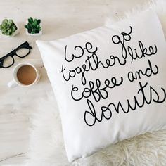 Donuts & Coffee 18x18 pillow case by ohmydearhandmade on Etsy