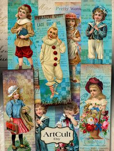VINTAGE KIDS - Bookmarks, Printable Vintage Images