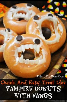 Looking for a frugal and FUN Halloween treat for your kids?! These Vampire Donuts are awesome! Just purchase a few cheap fangs from your local store and add them to your donuts!