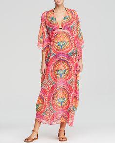 Mara Hoffman Supernova Red Dashiki Chiffon Swim Cover Up Caftan Maxi Dress | Bloomingdale's